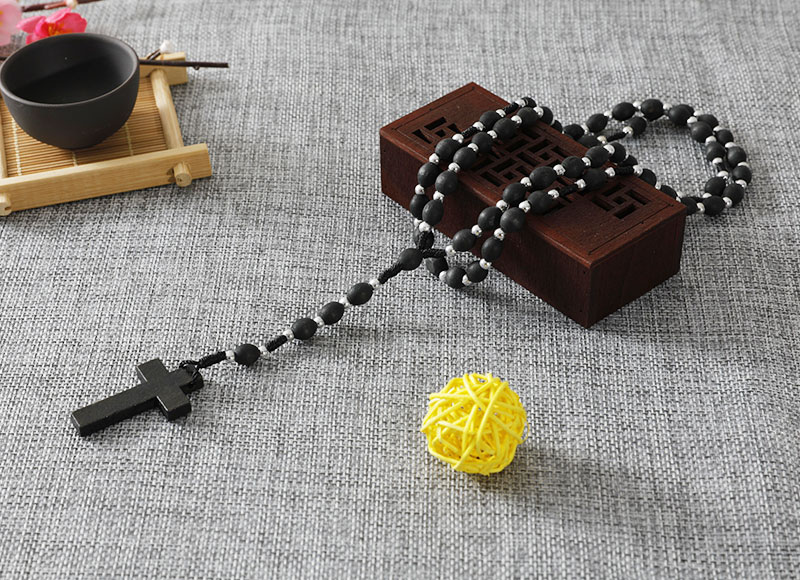 Oval Wood Bead Rosary