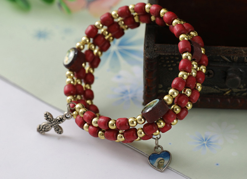 red wood bead bracelet with cross