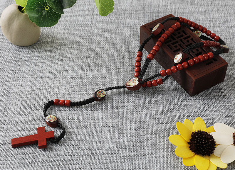 Red color wooden beads handmade cord rosary