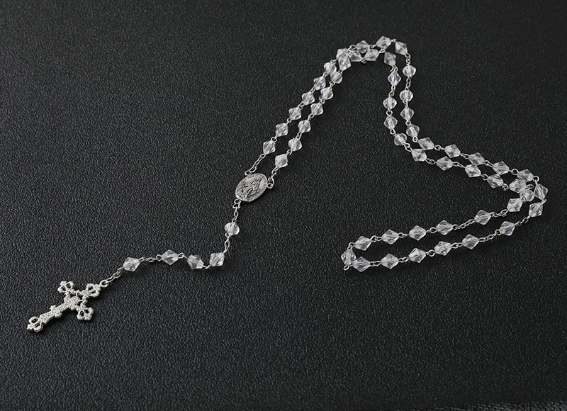 Crystal beads catholic chain rosary