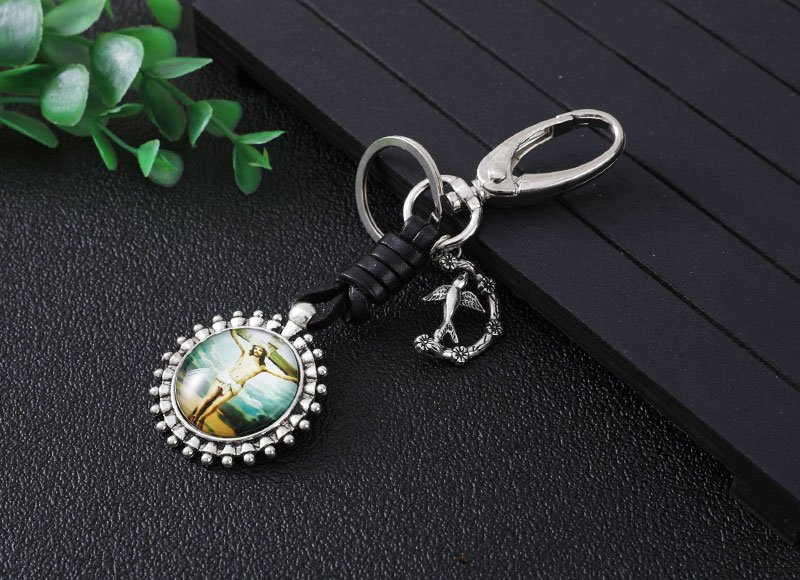 36mm round alloy keychain