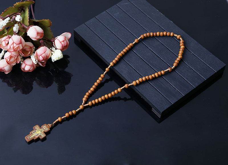 religious brown wood beads rosary