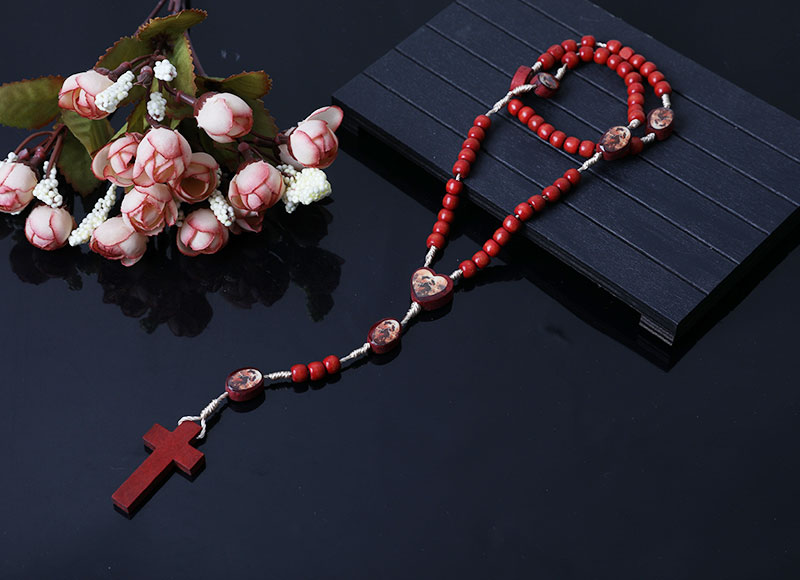 religious wood red beads rosary