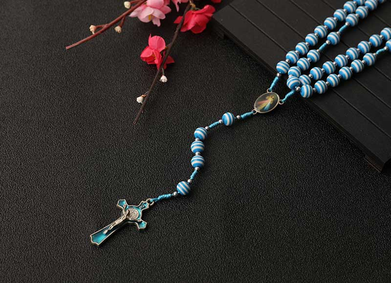 6mm Blue Ceramic Beaded Cord Rosary Alloy Cross Necklace