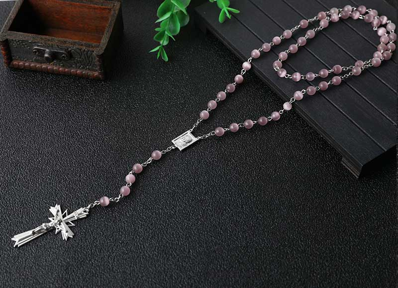 6mm cat eye beads chain rosary necklace