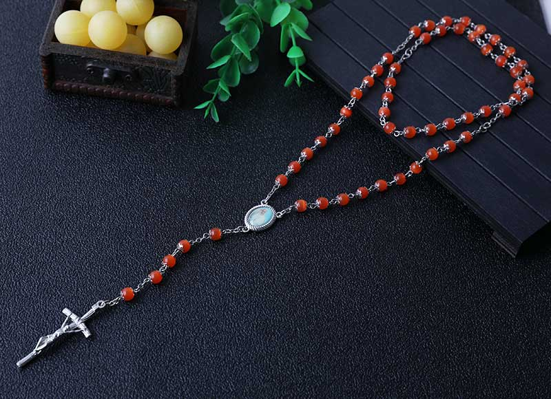6mm cat eye beads rosary necklace