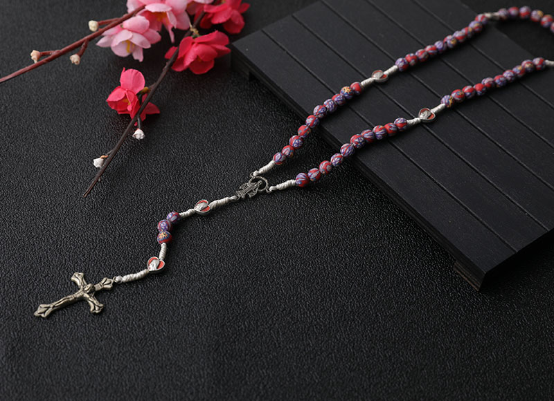 6mm Ceramic Multi-color Alloy Pendant Rosary Necklace