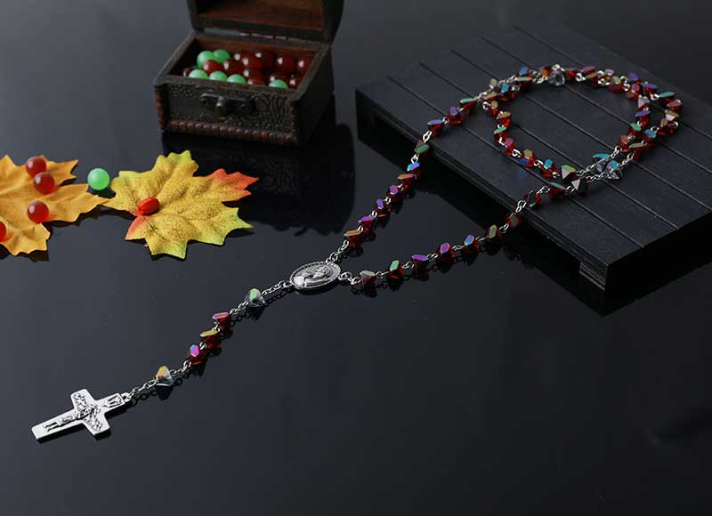6mm colorful crystal beads chain rosary necklace