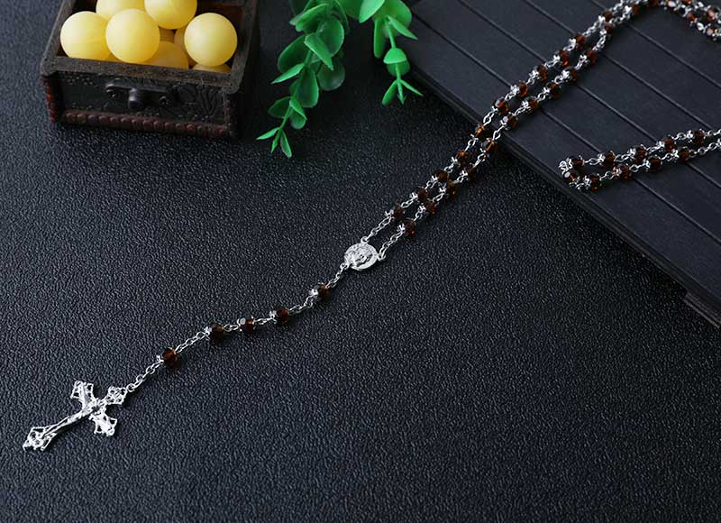 6mm crystal beads catholic rosary necklace