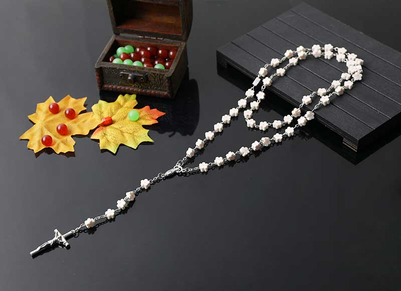 6mm flower shape soft ceramic beads chain rosary