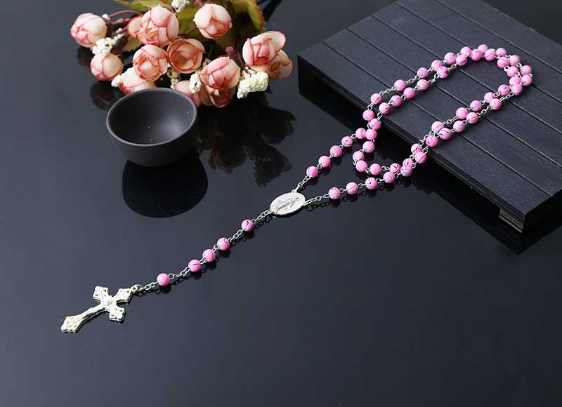 6mm glass beads Mary alloy parts chain rosary necklace
