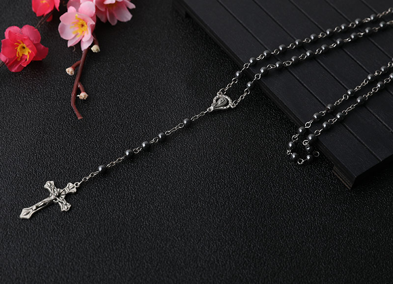 6mm Hematite Beads Chain Rosary With Cross Pendant