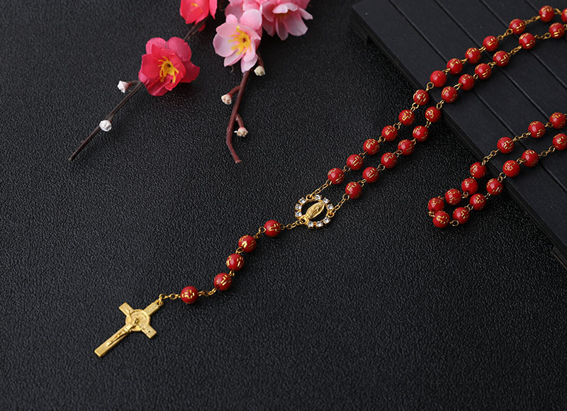 6mm Red Plastic Cross Rosary Gold Chain Necklace