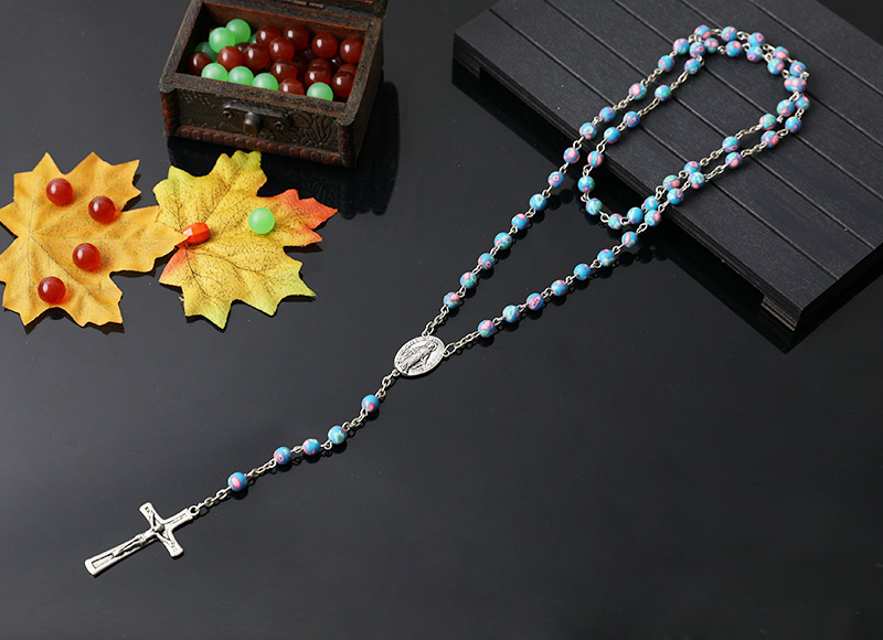 6mm round shape soft ceramic beads chain rosary necklace