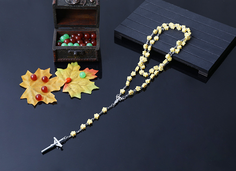 6mm yellow color soft ceramic beads chain rosary necklace