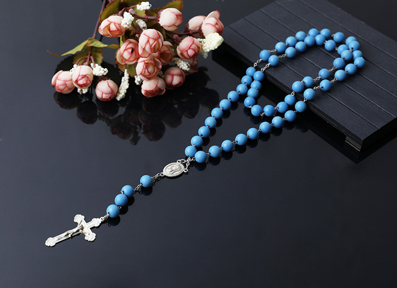 8mm blue plastic beads chain rosary necklace