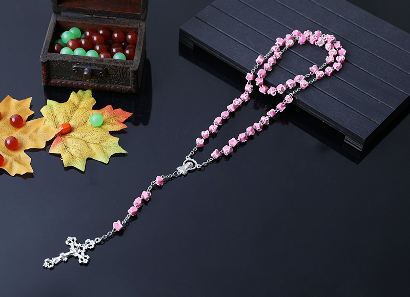 8mm ceramic beads flower shape chain rosary