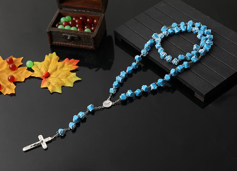 8mm light blue soft ceramic beads chain rosary