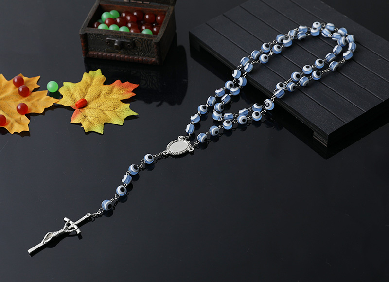 8mm plastic beads chain rosary necklace