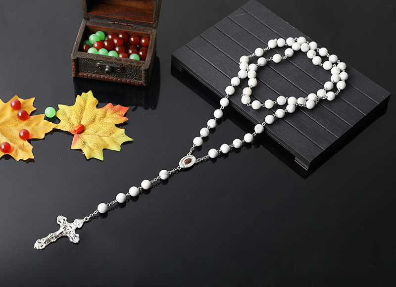 8mm white stone beads chain rosary necklace