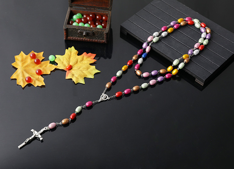 10-8mm colorful imitation pearl beads chain rosary necklace