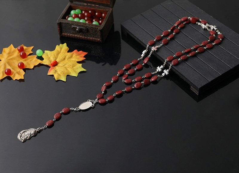 10mm plastic beads catholic necklace