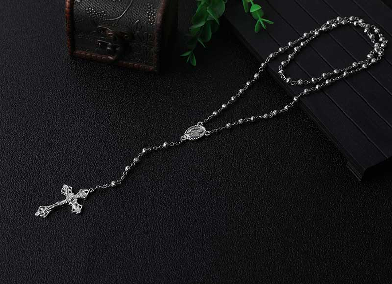Alloy Beads Chain Rosary Necklace
