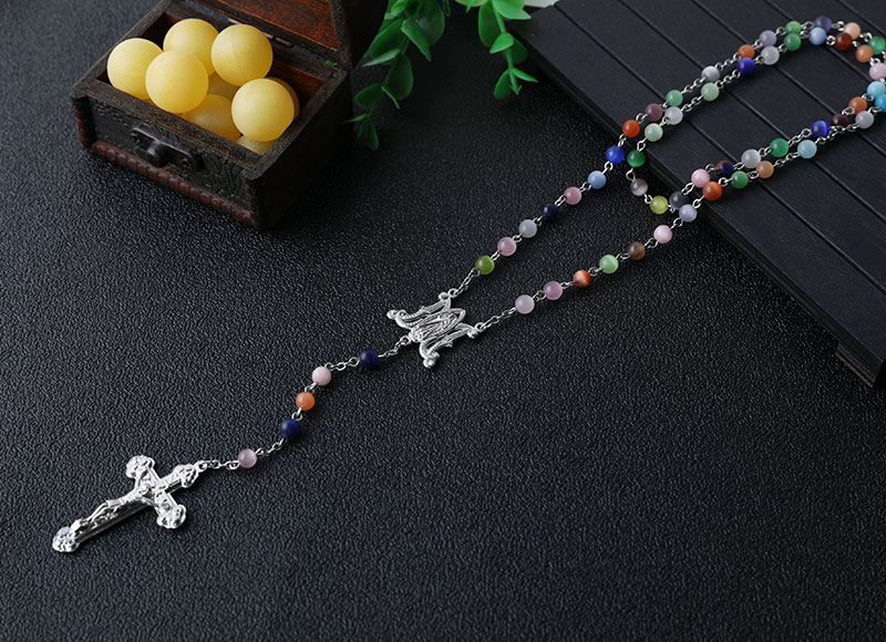Colorful cat eye beads chain rosary necklace