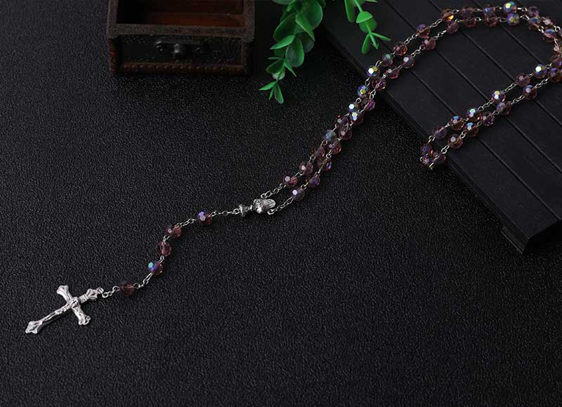 Craetive Design Rhinestone Beads Rosary Alloy Pendant Chain Necklace
