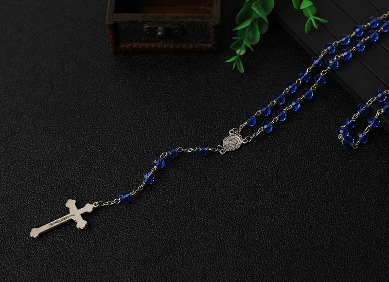Hotsale Bule Crystal Beads Chain Rosary Necklace