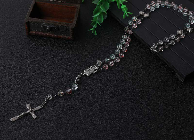 Religious Multi-color Crystal Beads Chain Necklace