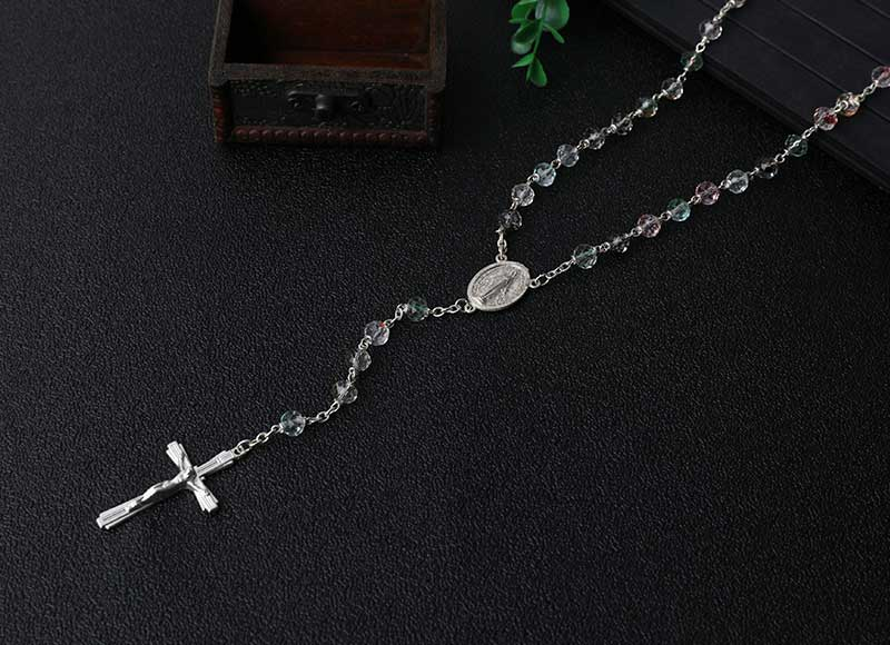 Transparent 6mm Glass Crystal Beads Chain Rosary