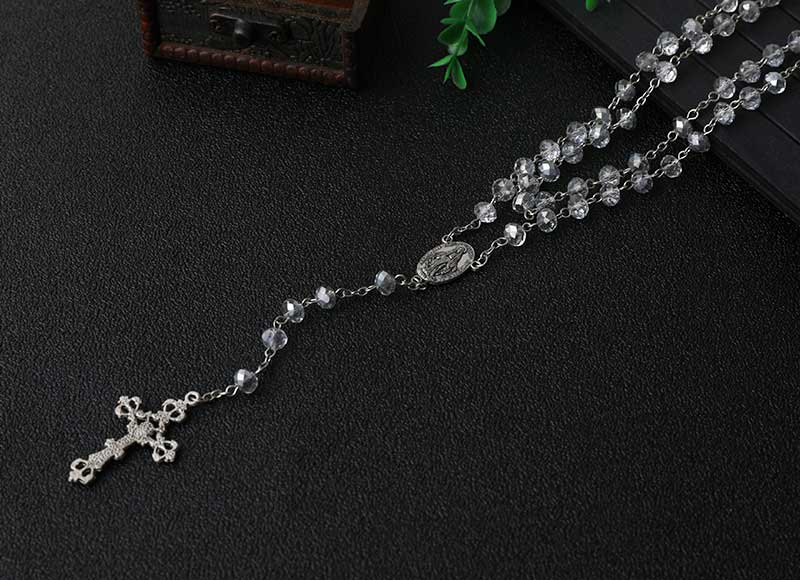 White Crystal Beads Chain Rosary Necklace