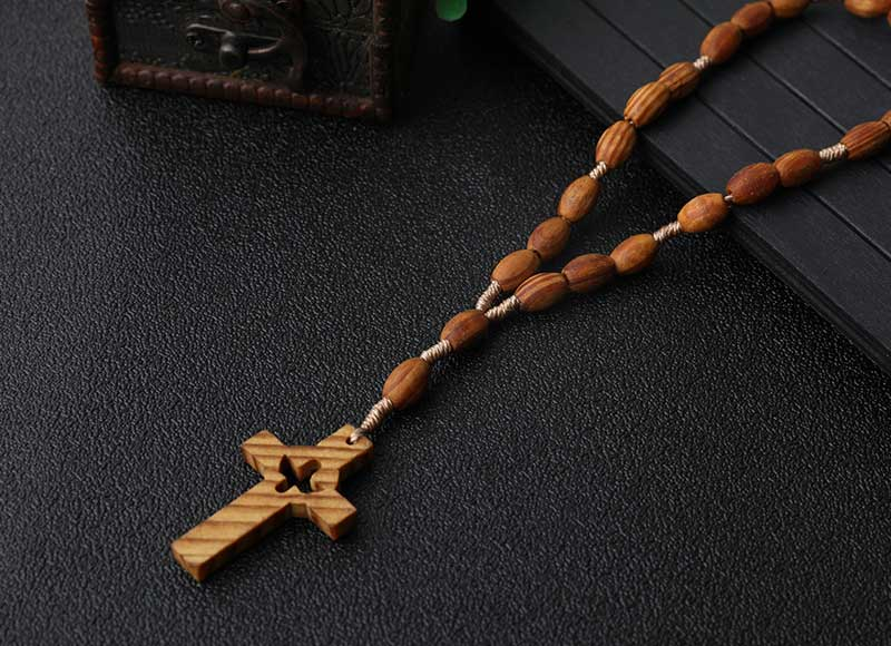 8x6mm Wood Oval Beads Cord Rosary With Wood Cross
