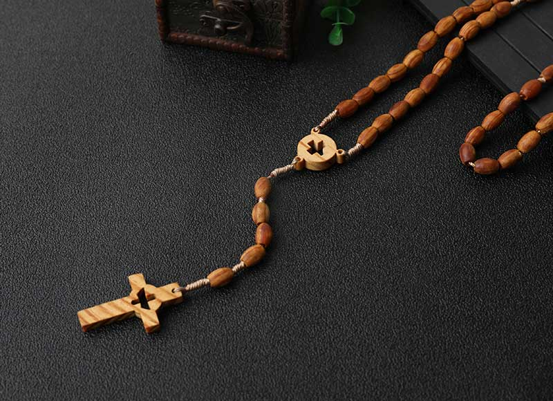 Engraving Cross Pendant Necklace Wood Beaded Rosary