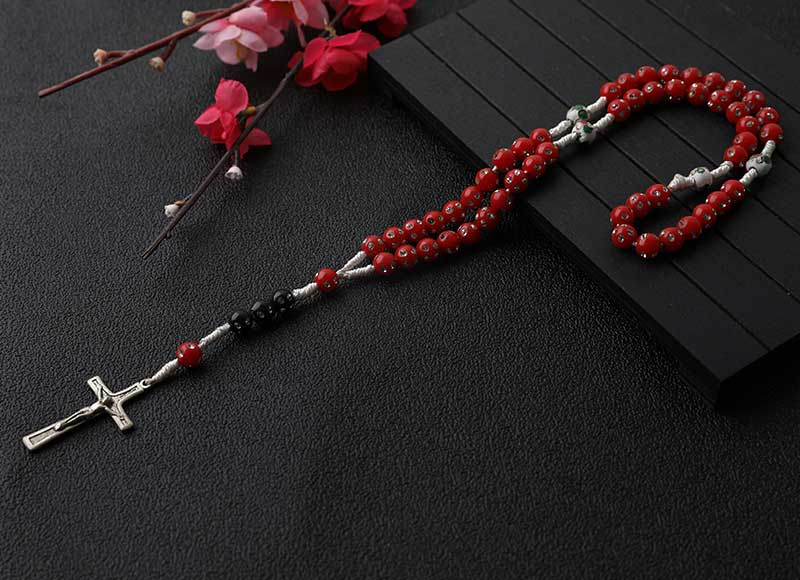 6mm Red Plastic Cord Rosary