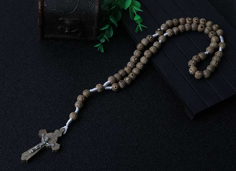 Gray Wood Beads Rosary Jesus Cross