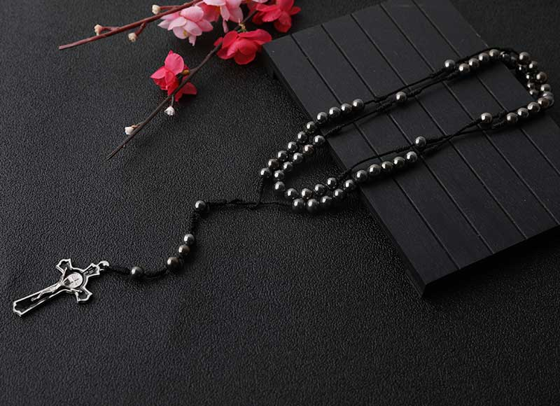 6mm Hematite Cord Rosary with Alloy Cross