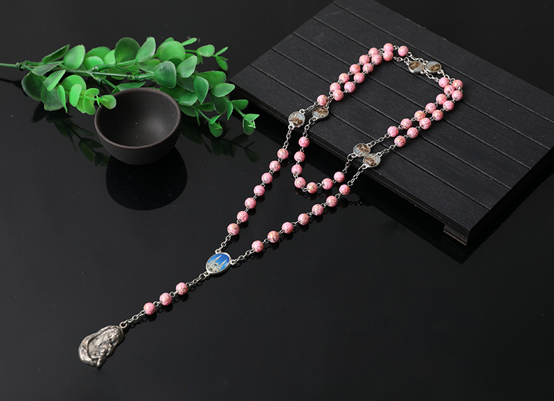 beautiful design pink plastic rosary necklace