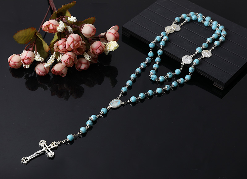 blue plastic beads rosary necklace