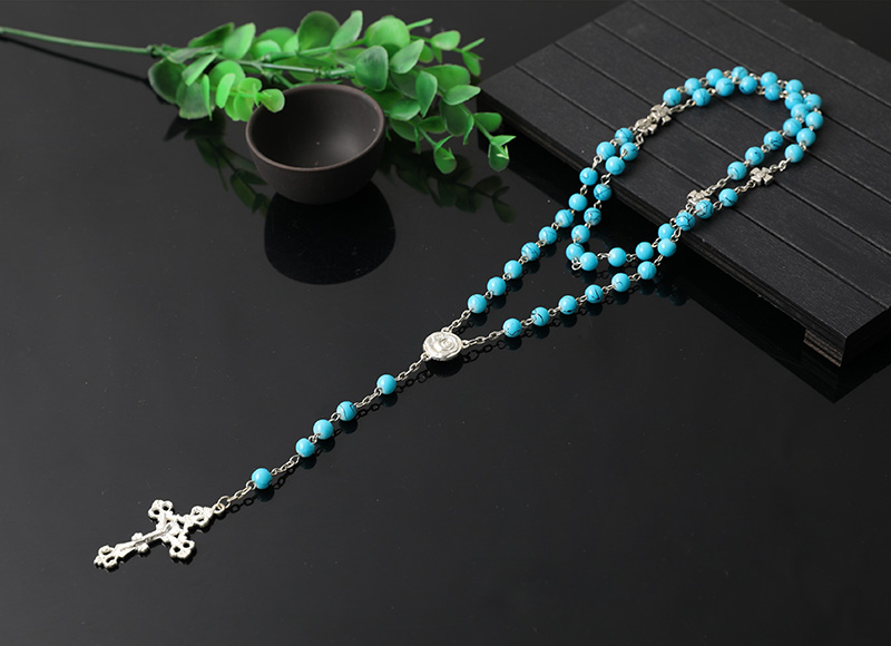 blue plastic religious rosary necklace
