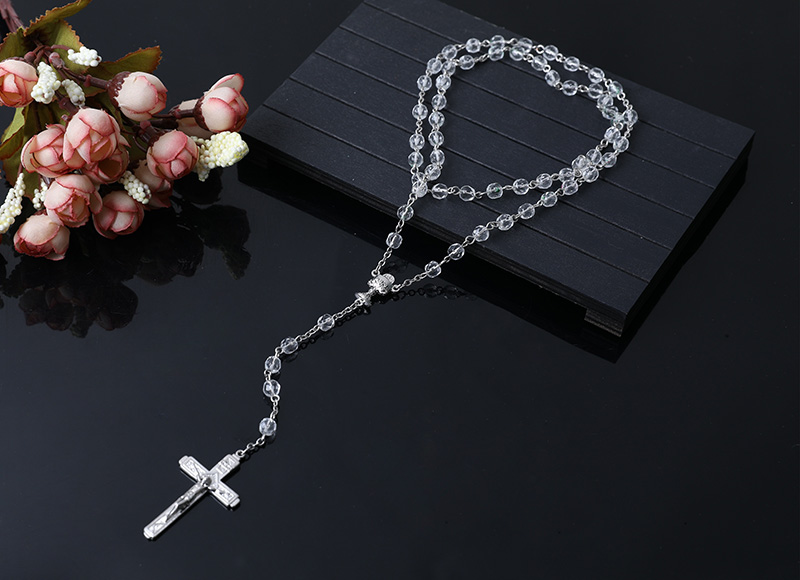 clear glass beads rosary necklace