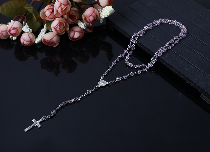 clear purple  religious chain rosary