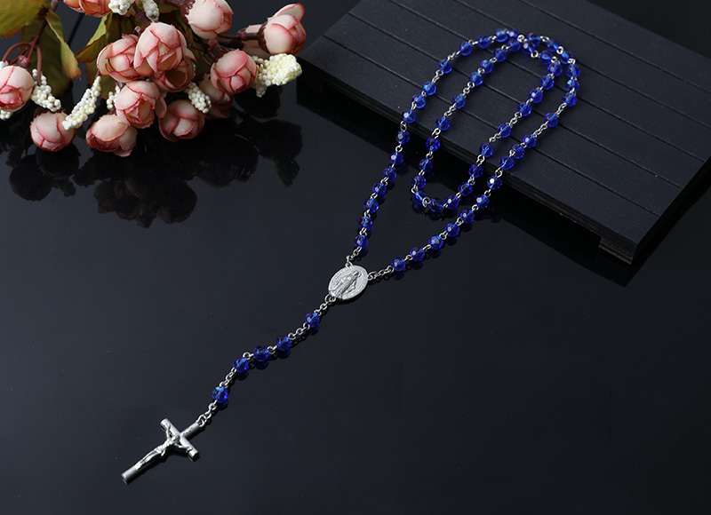 dark blue crystal beads chain  rosary