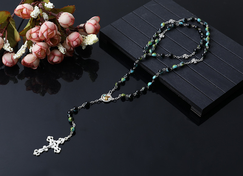 green color stone beads rosary necklace