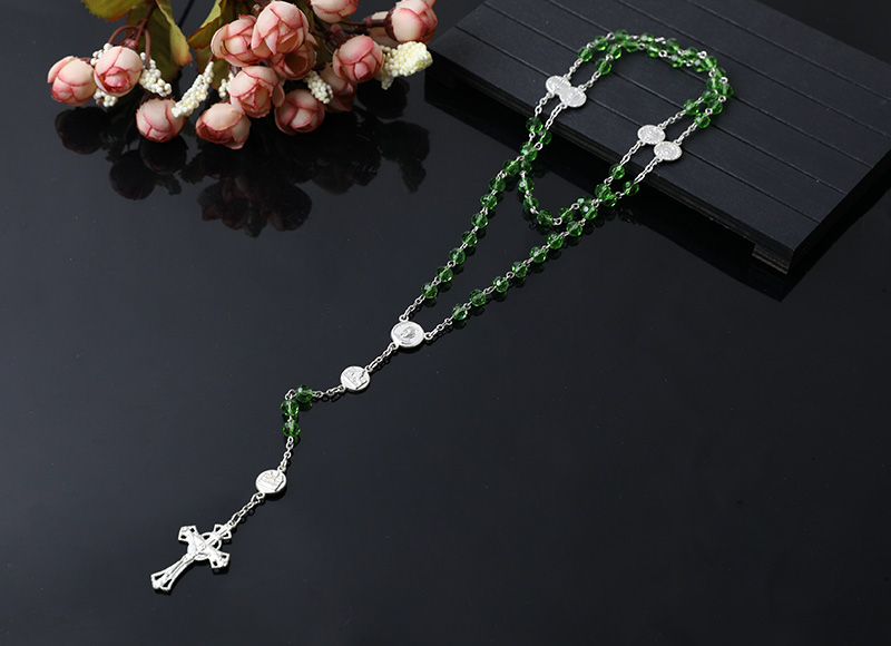 green crystal beads rosary with alloy
