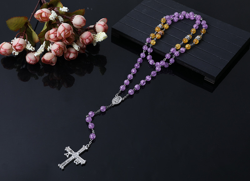 purple glass beads rosary necklace
