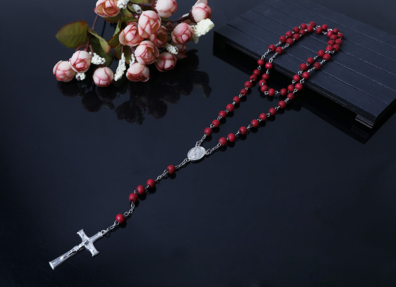 red smelling wood beads chain  rosary