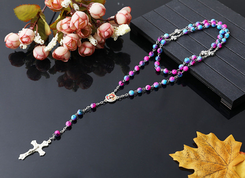 religious stone beads rosary necklace