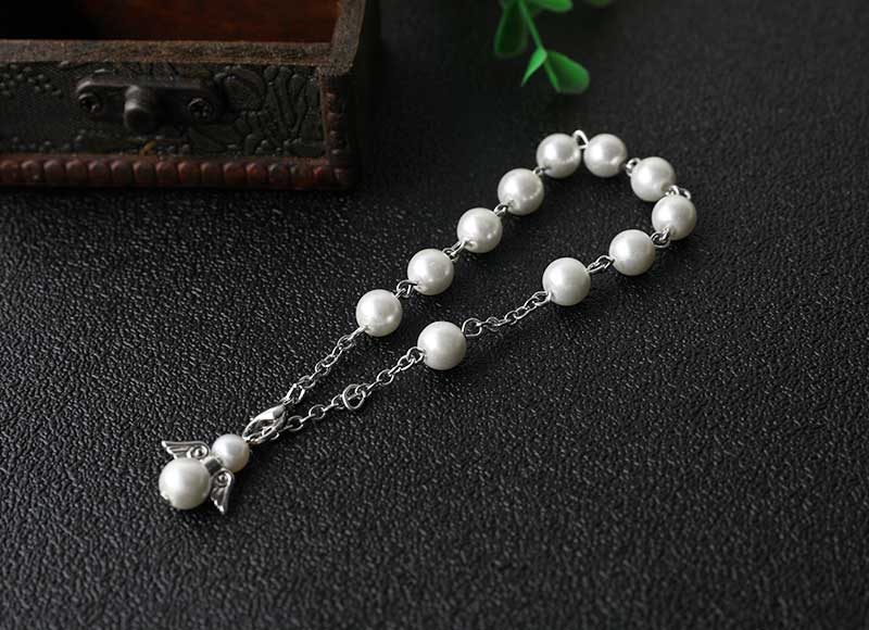 8mm white imitation pearl beads bracelet